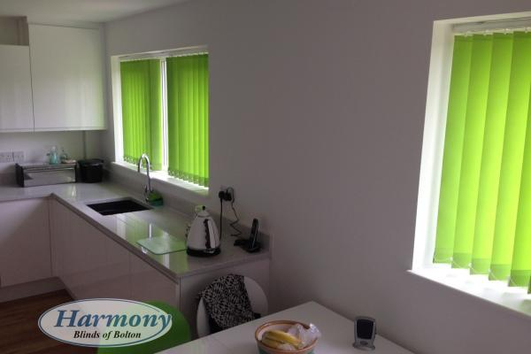 Lime Green Vertical Blinds in a Kitchen