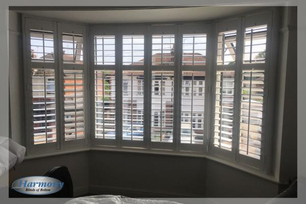 Made to Measure Shutters in a Bedroom Bay Window