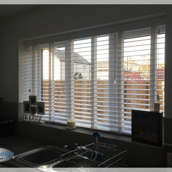 Made to Measure Taped Wooden Blinds in a Kitchen