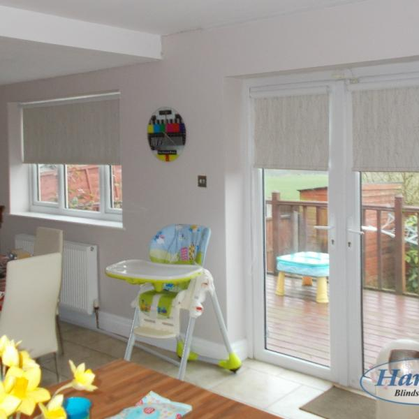 Matching Blackout Roller Blinds in a Kitchen