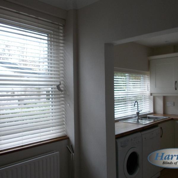 Matching Wooden Blinds in a Kitchen