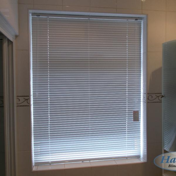 Metal Venetian Blind in a Bathroom