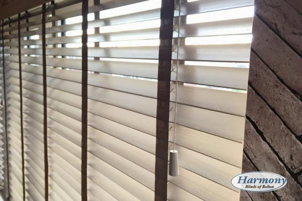 New Acacia Wooden Blinds with contrasting caramel coloured tapes