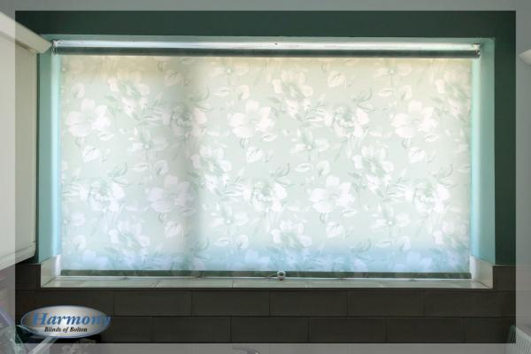 Pale Blue Floral Roller Blind