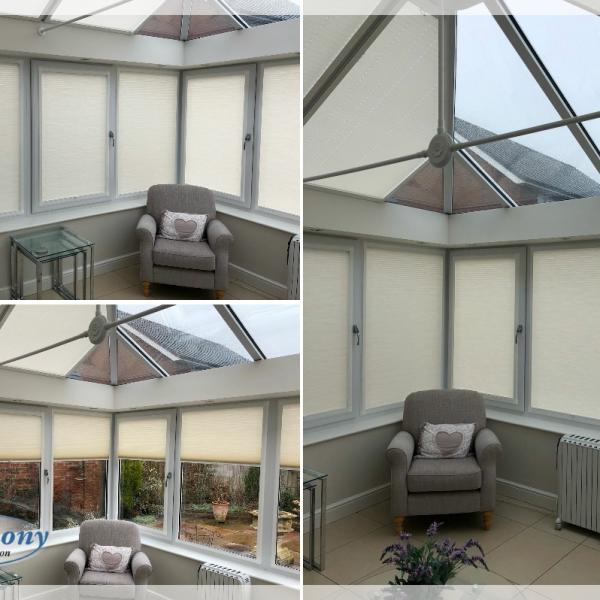 Perfect Fit Duette Blinds in a Bolton Conservatory