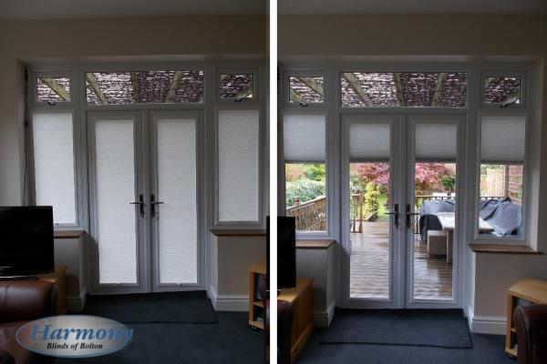 Perfect Fit Pleated Blinds in an entrance door