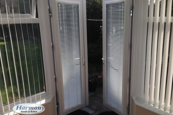 Perfect Fit Venetian Blinds on Conservatory Doors and Vertical Blinds