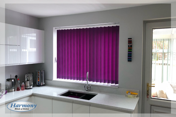 Purple Vertical Blinds in a Kitchen