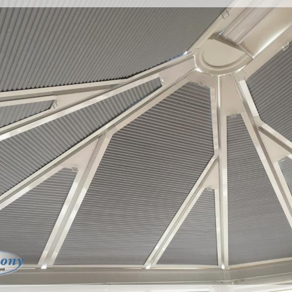 Shaped Perfect Fit Roof Blinds with Grey Duette Blinds