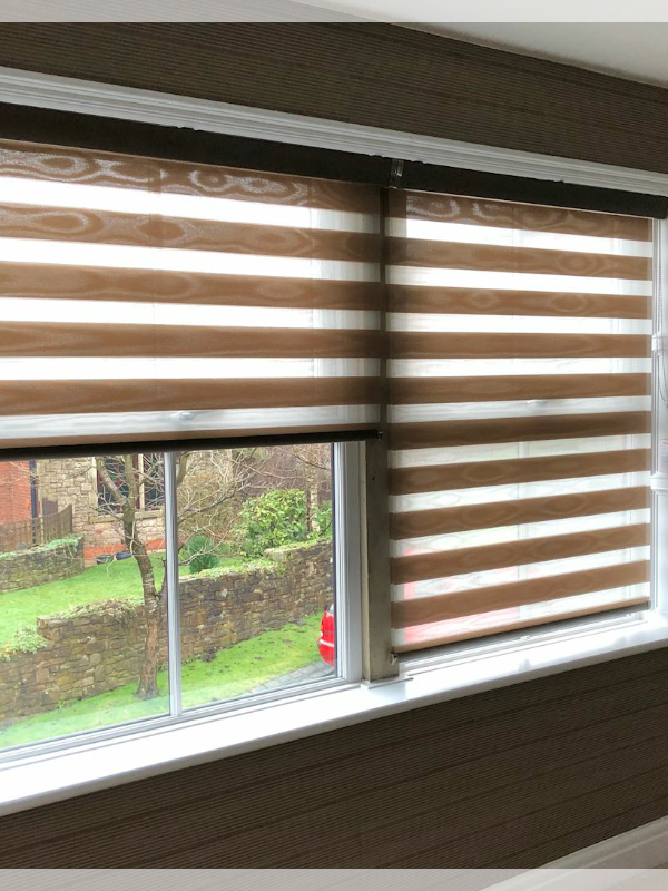 Side by Side Day & Night Blinds with wood effect fabric