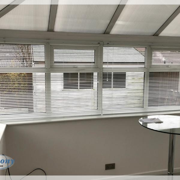 Silver Venetian Blinds in a Lean to Conservatory