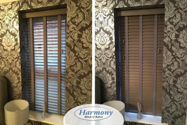 Small Faux wood Blind with contrasting wallpaper