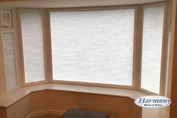 Soft White Perfect Fit Blinds in a Bay Window