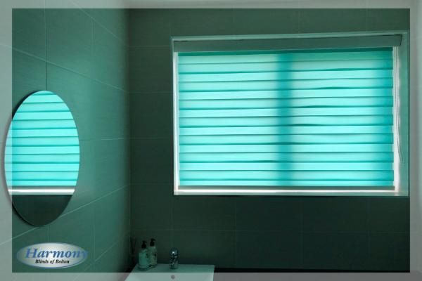 Teal Day & Night Roller Blind in a Bathroom