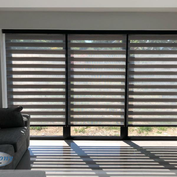 Trio of Remote Control Day & Night Blinds on Patio Doors