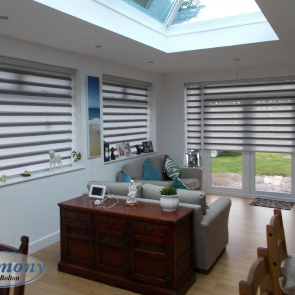 Two-Toned Day & Night Mirage Blinds in an Orangery