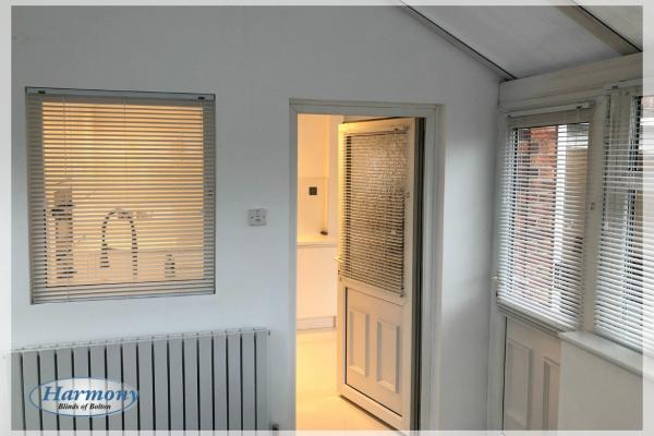 Venetian Blinds on a serving hatch and door