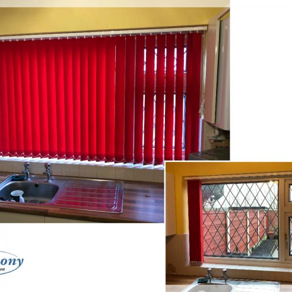 Vibrant Red Vertical Blind in a Kitchen