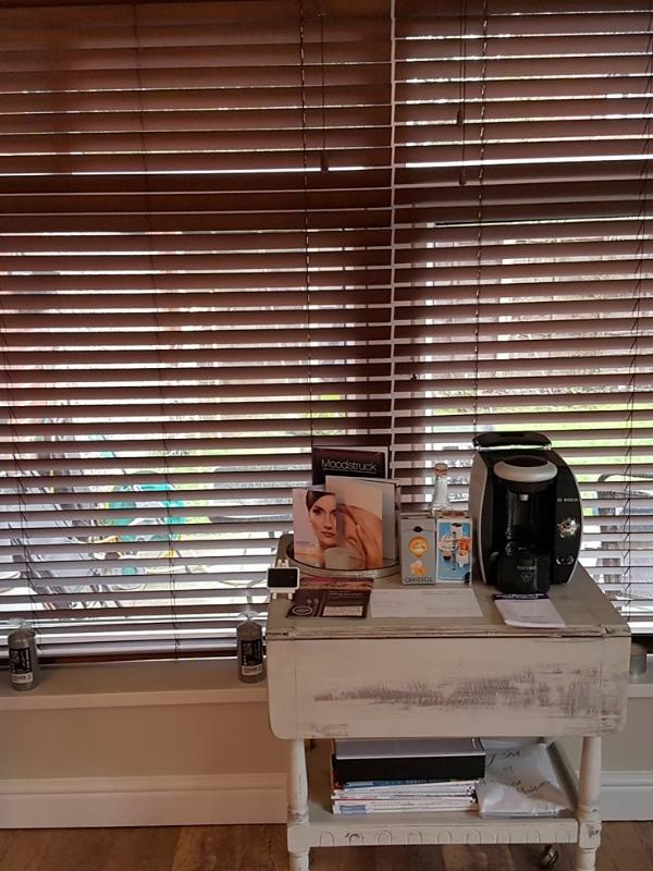 Walnut Wooden Blinds in a Beauty Treatment Room