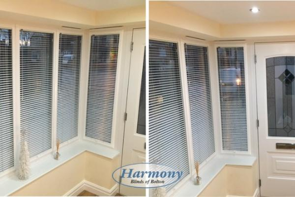 White Perfect Fit Venetian Blinds in Entrance