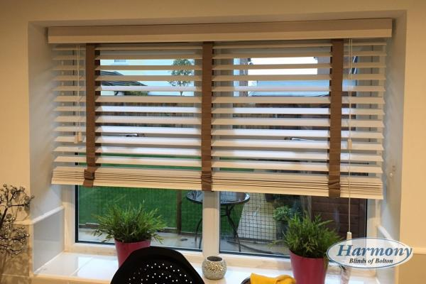 White Wooden Blinds with Coffee coloured tapes
