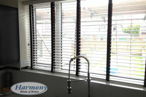 White Wooden Blinds with Contrasting Black Tapes