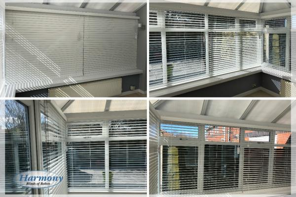 Wood Venetian Blinds in a Bolton Conservatory