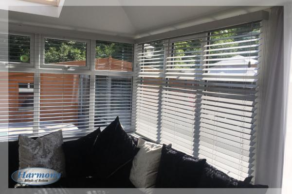 Wooden Blinds in a Lean to Conservatory