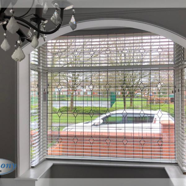 Wooden Blinds in Bay Window Archway