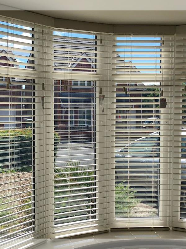 Wooden Blinds in Curved Bay Window